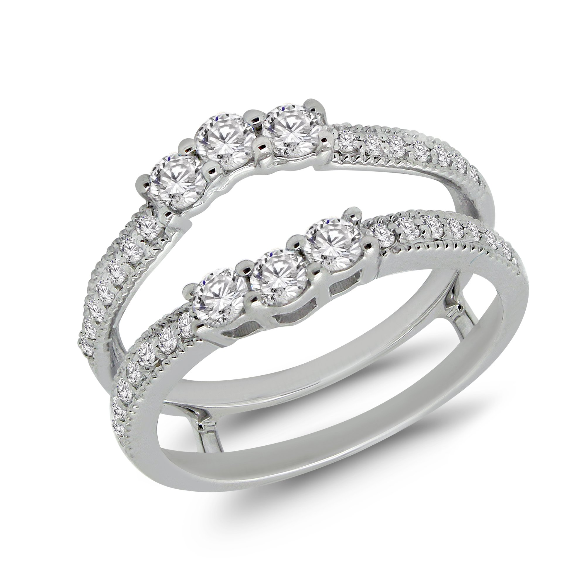 OMEGA JEWELLERY 3/4 Ct Round Cut Natural Diamond Enhancer Guard Wrap Ring in 14K White Gold (5)