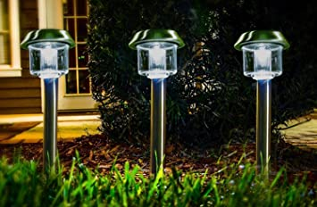 Highgate Solar Accent LED Path Lights, Stainless Steel, Solar Powered, Set  Of