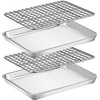 Baking Sheet with Rack Set [2 Pans + 2 Racks], Wildone Stainless Steel Cookie Sheet Baking Pan Tray with Cooling Rack…