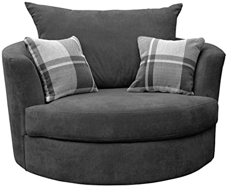 Enjoyable Large Swivel Round Cuddle Chair Fabric Grey Forskolin Free Trial Chair Design Images Forskolin Free Trialorg