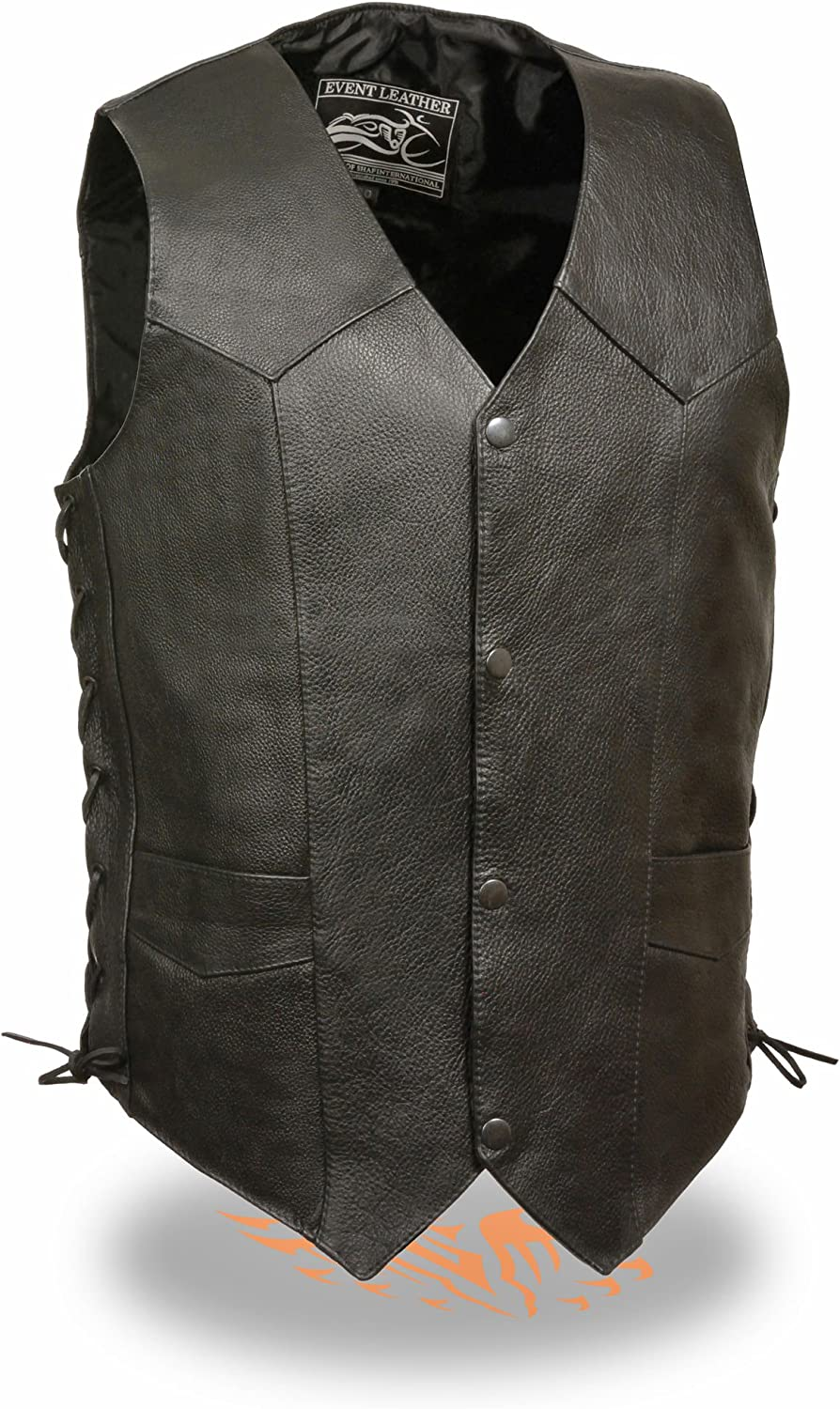Black, M Mens Goat Skin Side Lace Biker Leather Vest Milwaukee