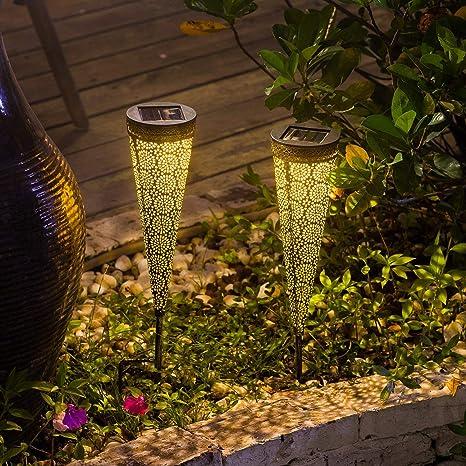 Luces Solares Jardín,Qomolo Luz Solar Exterior IP65 Impermeable Lámparas de Camino Exterior Iluminación Decorativas Para Patio,Césped,Pasillo (2 Paquetes): Amazon.es: Iluminación
