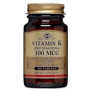 Solgar Vitamina K1 (Fitomenadiona) 100 µg Comprimidos - Envase de 100