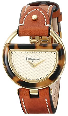 9fa3638a943 Salvatore Ferragamo Women's FG5020014 Gold Ion-Plated Watch with Brown Leather  Band