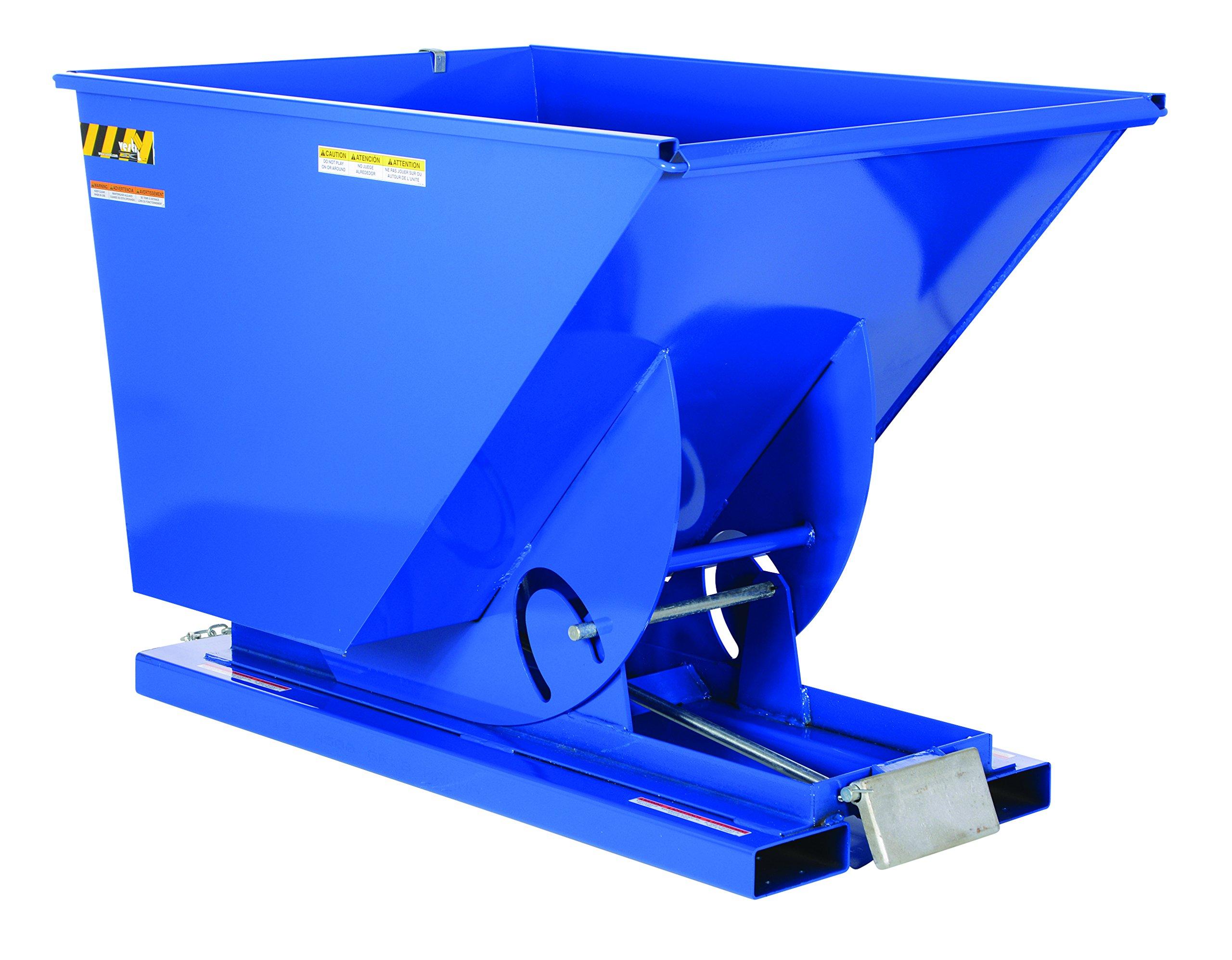 Vestil D-150-MD Medium Duty Self-Dumping Hopper with Bumper Release, Steel, 4000 lb. Capacity, Overall L x W x H (in.) 68-3/8'' x 43-9/16'' x 51-13/16'', Blue