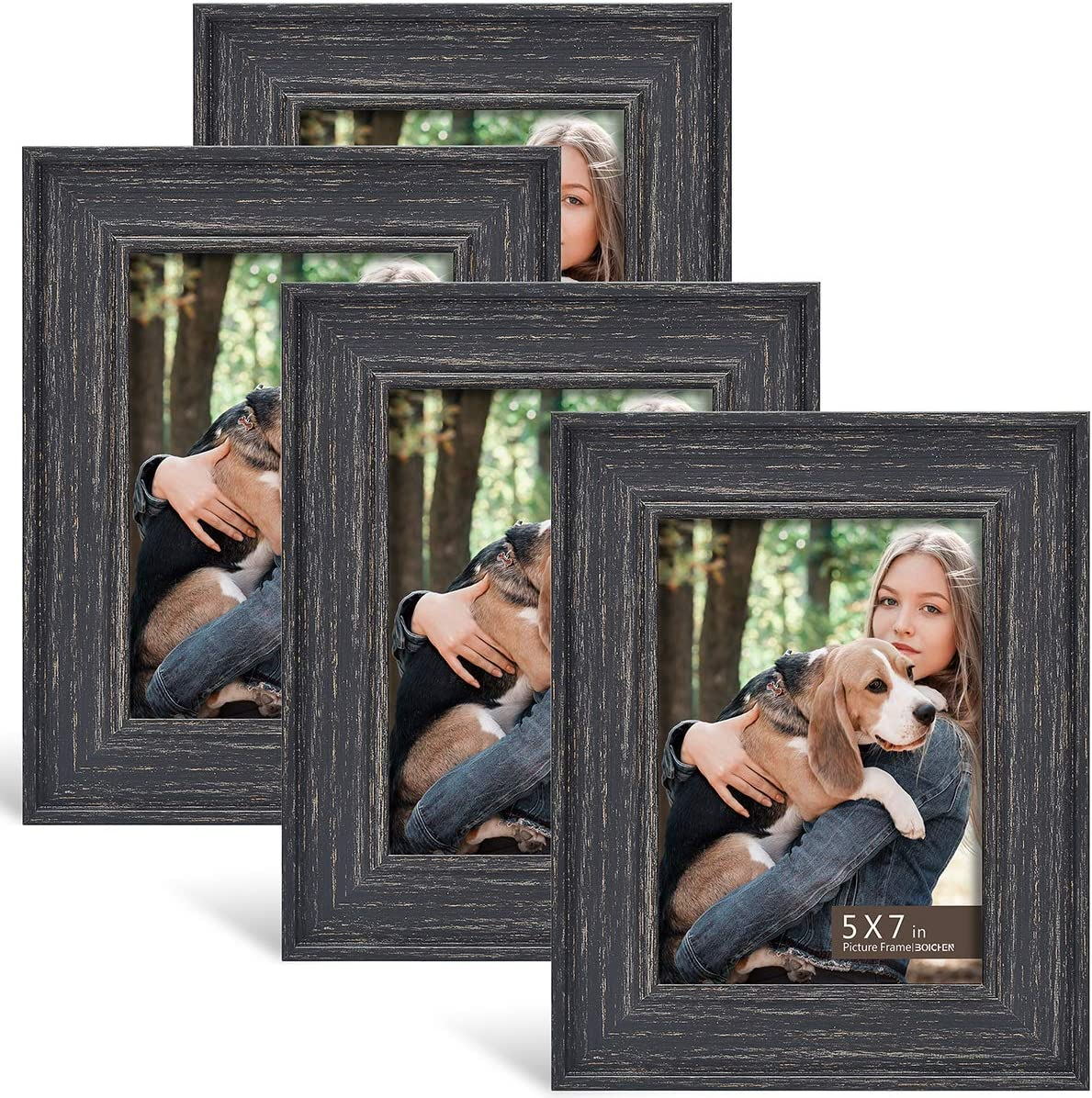 BOICHEN 5x7 Frame (4-Pack) - Picture Frames Rustic Black Farmhouse Photo Frame Set for Wall with Glass Cover Gilding Crafts Ready to Hang or Stand