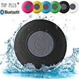 TOP PLUS? HD Water Resistant Bluetooth 3.0 Shower Speaker, Handsfree Portable Speakerphone with Built-in Mic, 6hrs of playtime, Control Buttons and Dedicated Suction Cup