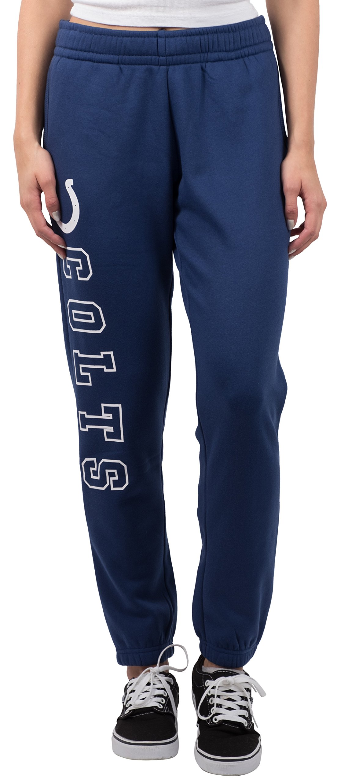 Ultra Game NFL Indianapolis Colts Women's Relax Fit Fleece Jogger Sweatpants, Large, Blue
