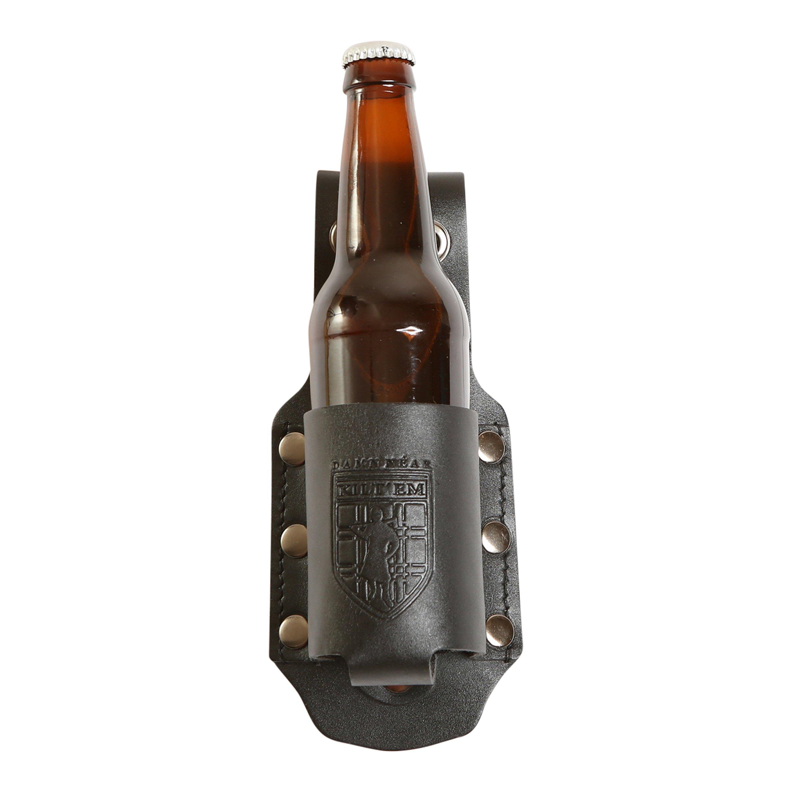 Damn Near Kilt 'Em Premium Black Leather Bottle Holder Kilt Accessory by Damn Near Kilt 'Em