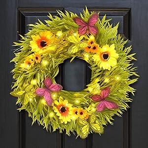 ALLADINBOX 21-inch Door Wreath with 30 LEDs 3D Butterfly Sunflowers Decor for Front Door Window Wall Party Garden Outdoor Spring/Summer