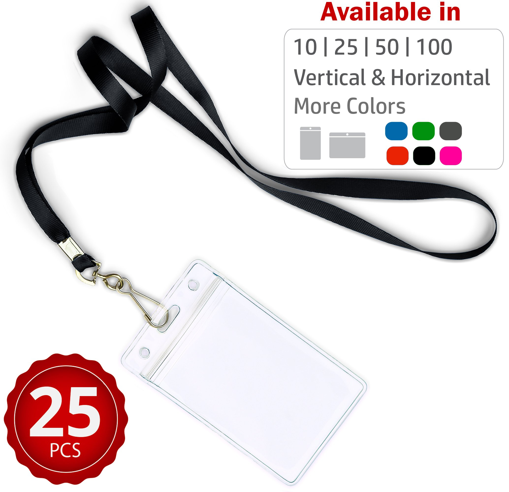 Durably Woven Lanyards & Vertical ID Badge Holders ~Premium Quality, Waterproof & Dustproof ~ For Moms, Teachers, Tours, Events, Businesses, Cruises & More (25 Pack, Black) by Stationery King