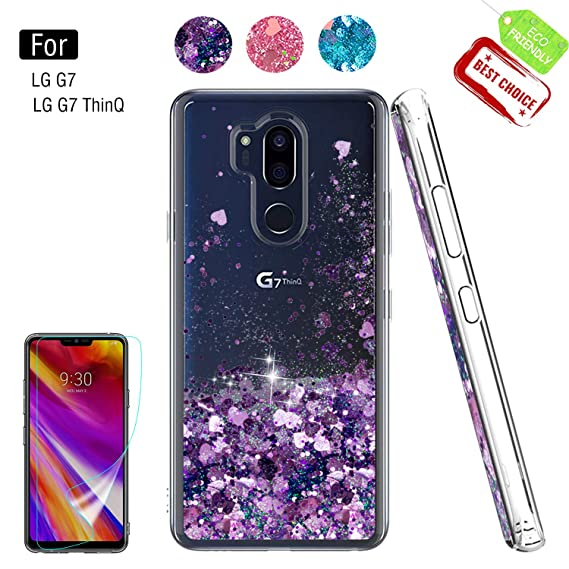 LG G7 ThinQ Case,LG G7 Glitter Case with HD Screen Protector for Girls  Women,Atump Glitter Shiny Bling Cute Moving Liquid Quicksand Clear TPU