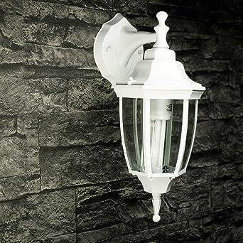Aplique rústico exterior aluminio vidrio blanco E27 IP44 Aplique columna jardín patio terraza lámpara balcón: Amazon.es: Iluminación