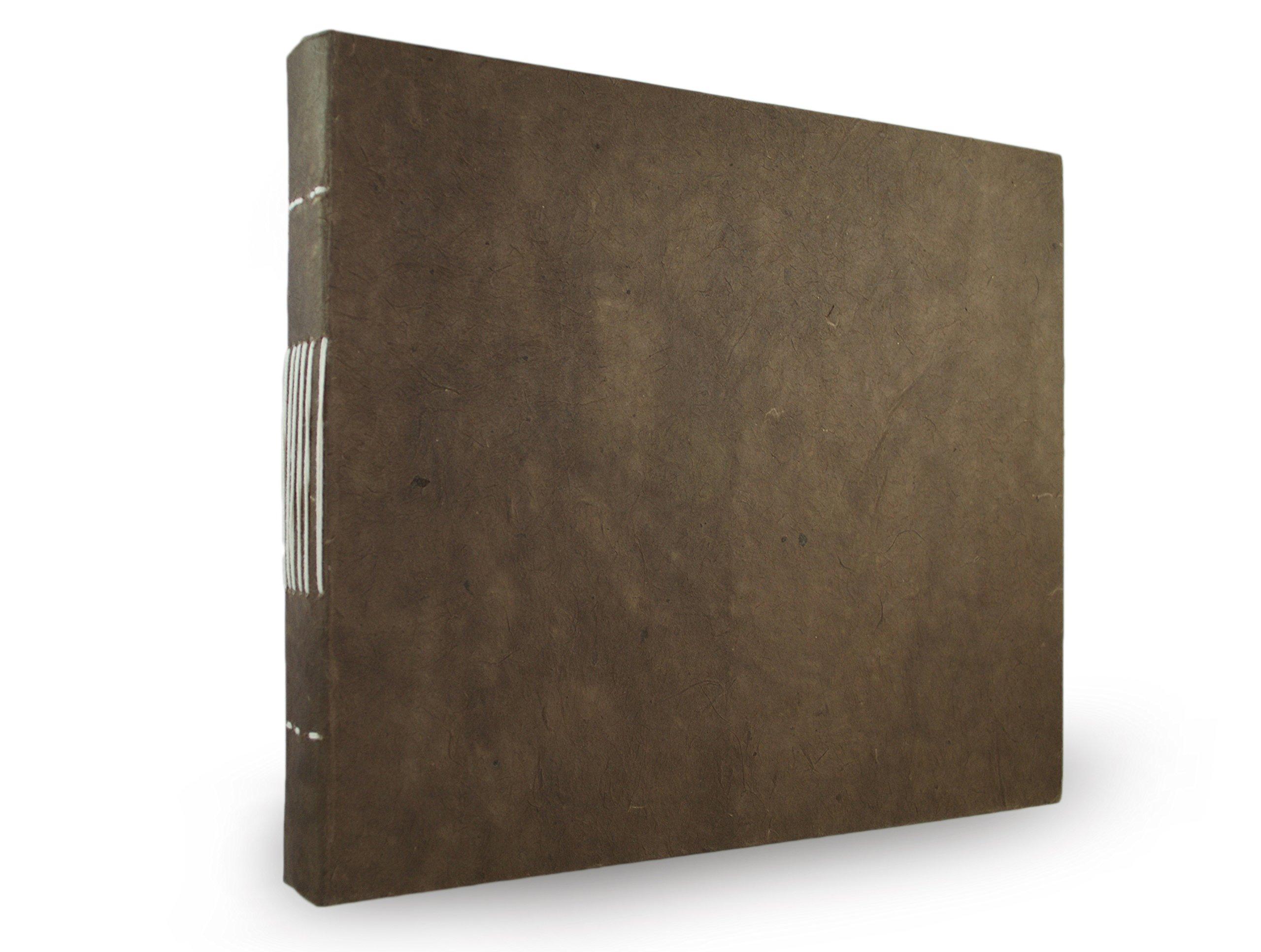 Nepali Keeper Journal with Handmade Lokta Paper. Made in Nepal. (10x9 Inches, Dark Walnut)