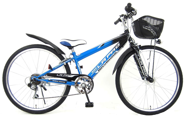 ラパス (LAPAZ) 24インチ シマノ6段変速 LEDオートライト スピードメーター搭載 子供用自転車 キッズサイクル B00ICAPIIEブルー