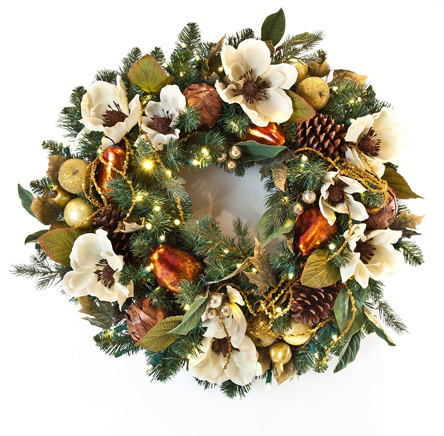 Gold Pear Pine Cone and Magnolia Pre-lit Christmas Wreath