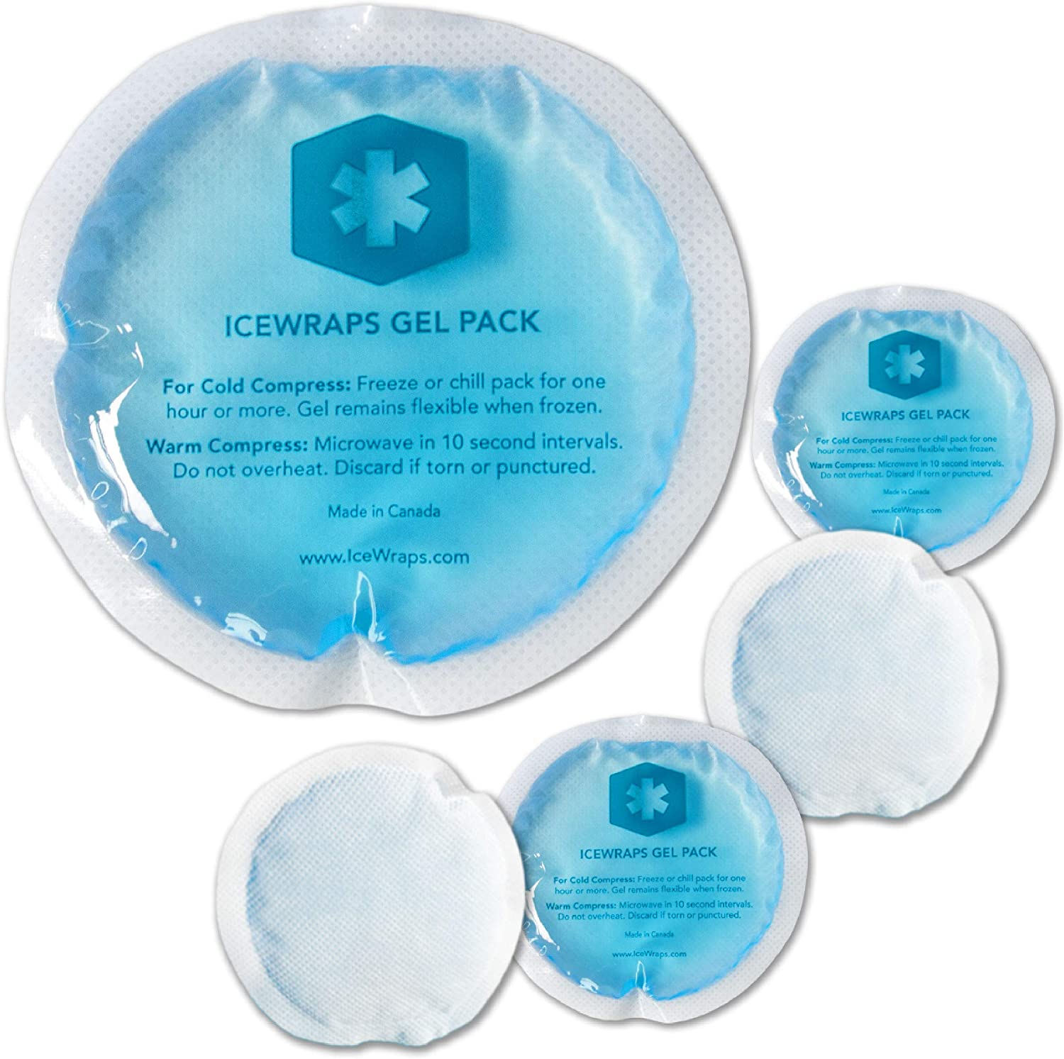 ICEWRAPS Reusable Gel Ice Packs with Cloth Backing - Hot Cold Pack for Kids Injuries, Breastfeeding, Wisdom Teeth, First Aid - Round 5 Pack: Health & Personal Care
