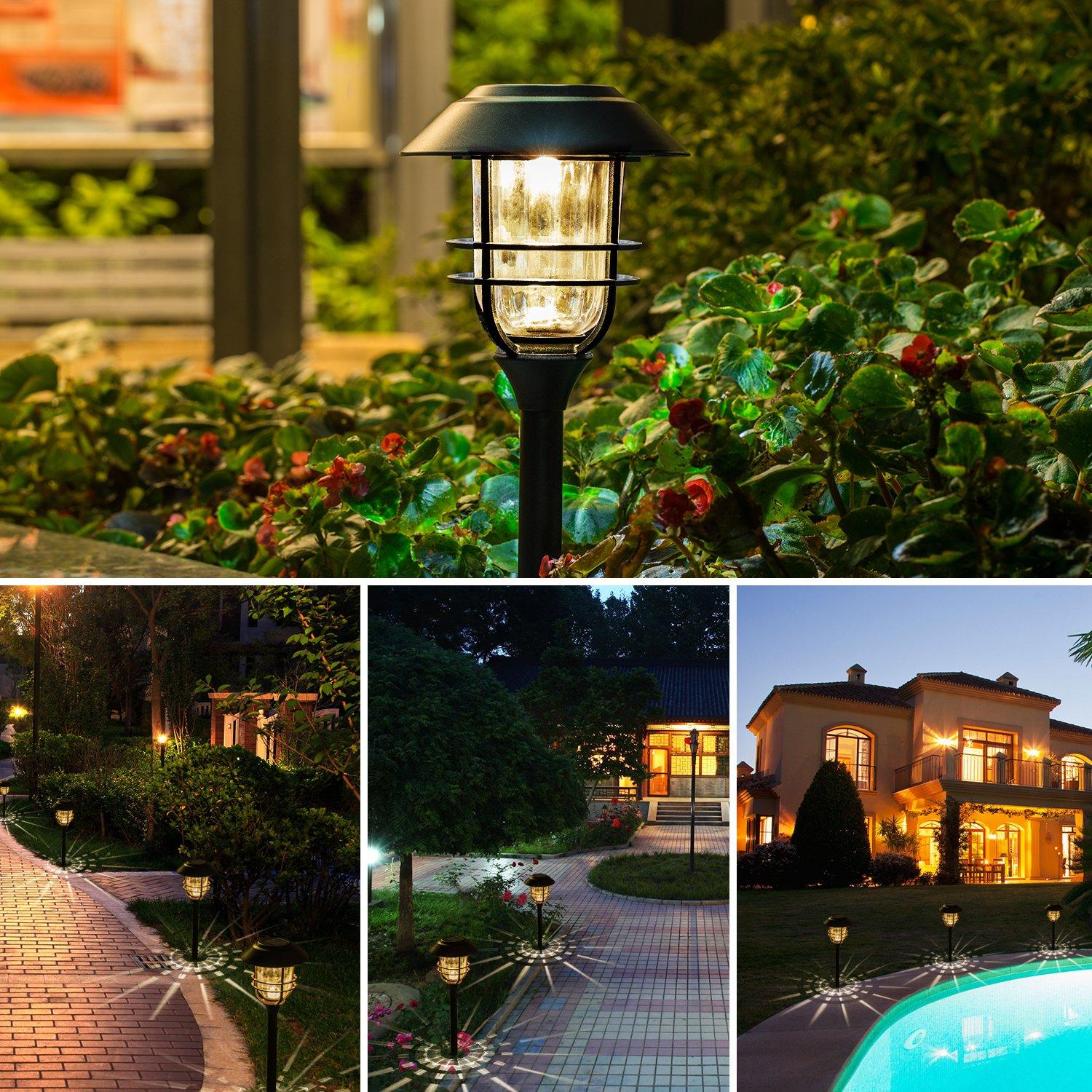 Solar Lights Outdoor Pathway - 4 Pack Bright Glass Solar Powered LED Garden Path Landscape Lighting Bronze Powder Coated Die Casting Aluminum Patio Path Lights Heavy-Duty for All Weather (Bronze) by Sunwind (Image #4)