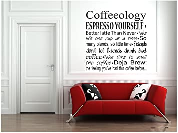 Amazoncom Coffeeology Espresso Yourself Kitchen Wall Decals - Custom vinyl wall decals coffee