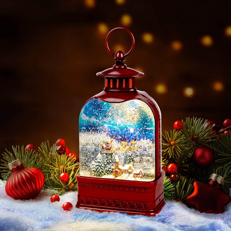 "SUNFACE 9.5"" Town Scene Christmas Snow Globe Musical Water Lantern Light (Red)"