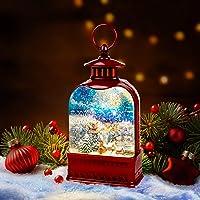 "CD9 LARGE 15"" Lighted Christmas Snow Globe Water globe SWIRLING Cardinal Tree"