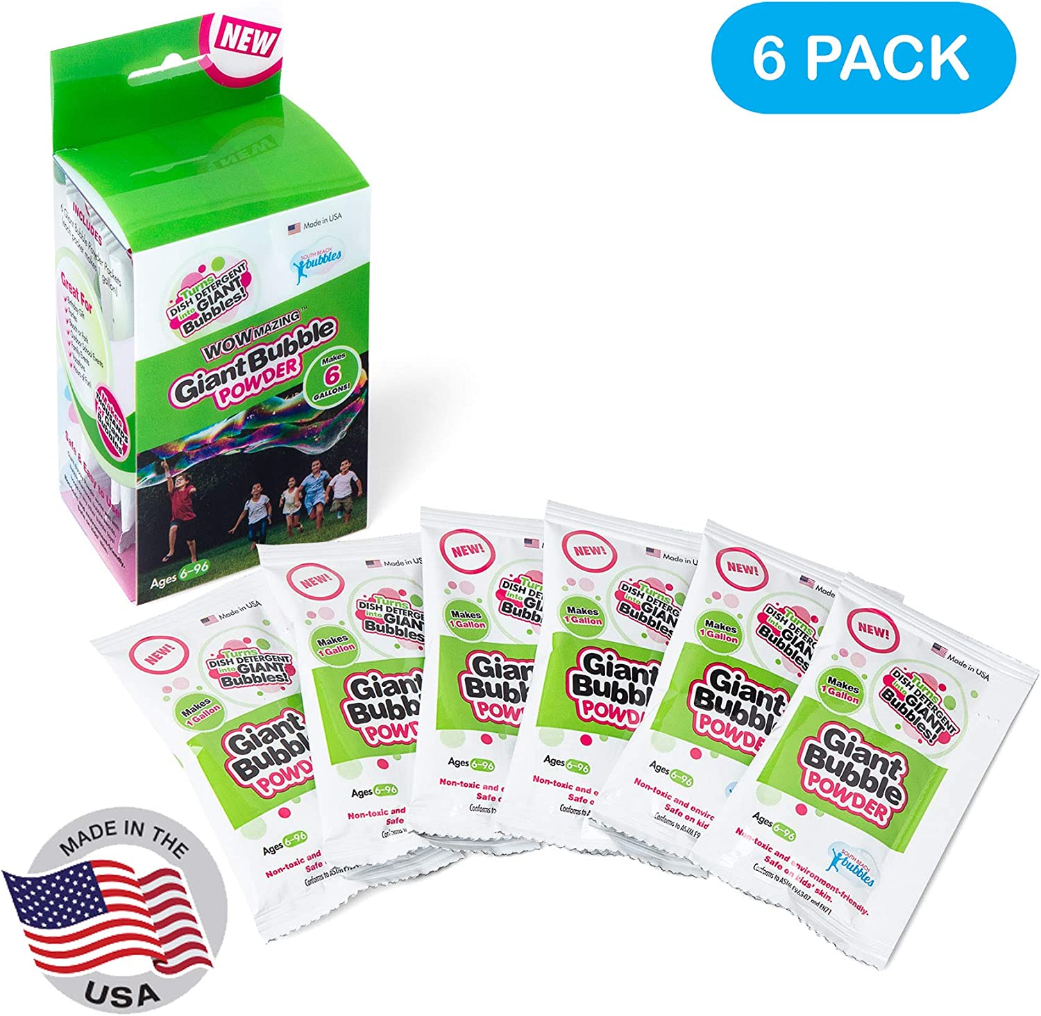 WOWMAZING Giant Bubble Refill Powder Mix - 6 Packets Makes 6 GALLONS | Made in USA | Turns Dish Detergent into Big Bubbles | Non Toxic Safe & Natural | Birthdays, Outdoor Family Fun for Girls and Boys