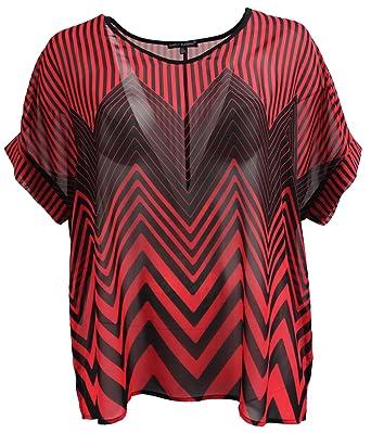 Women Plus Size Zig Zag Stripe Chiffon T-Shirt Blouse Top Plus Size Red 1X 913077d99b