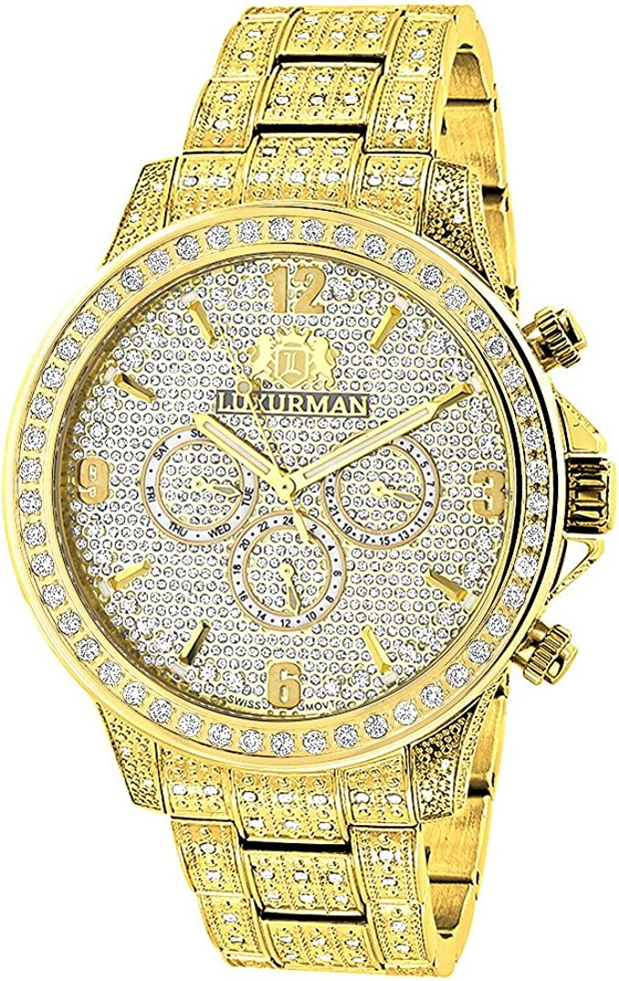 Luxurman Iced Out Mens Diamond Watch 3ct Yellow Gold Plated Liberty Swiss Mvt Plus 2 Leather Bands