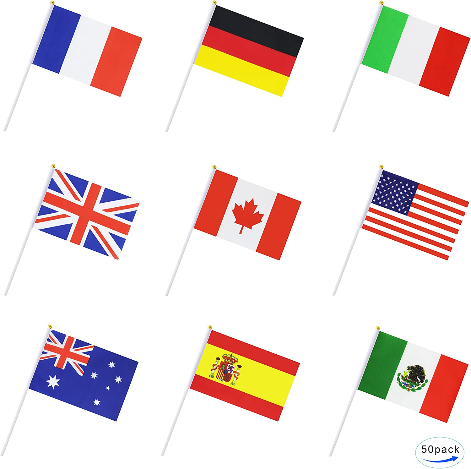 TSMD International World Stick Flag,50 Countries Hand Held Small National Flags Banners On Stick,Party Decorations for Olympic,World Cup,Bar,Sports Events,Festival Events Celebrations