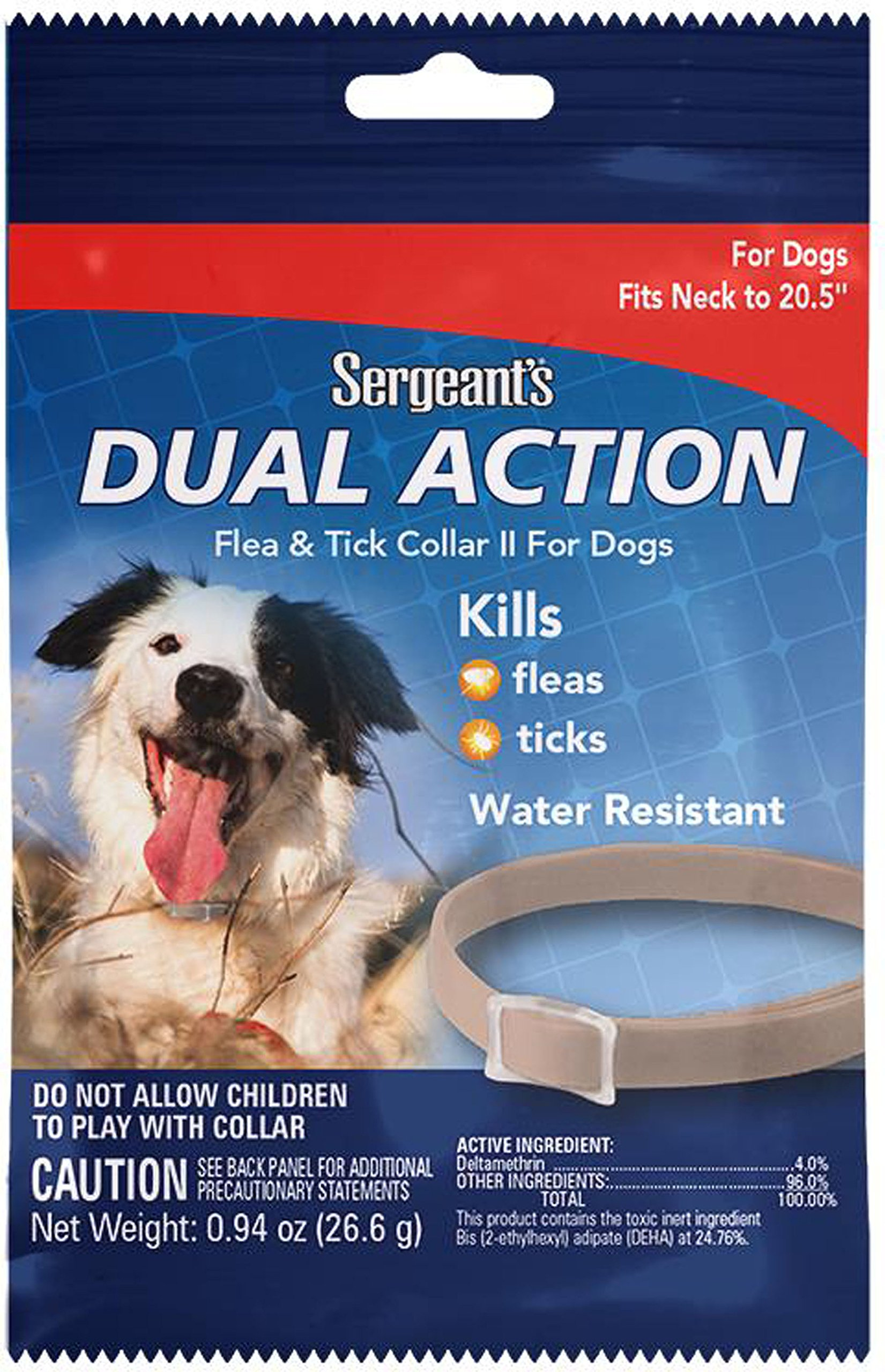 Sergeant's Pet Products 3284 1 Count Dual Action Flea & Tick Collar for Dogs, 20.5''