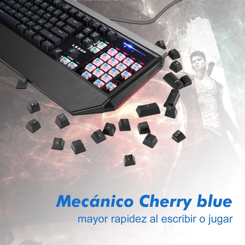LESHP Teclado Mecánico Gaming con Disposición Española (retroiluminación LED de 7 colores, 105 teclas, tiene ñ)
