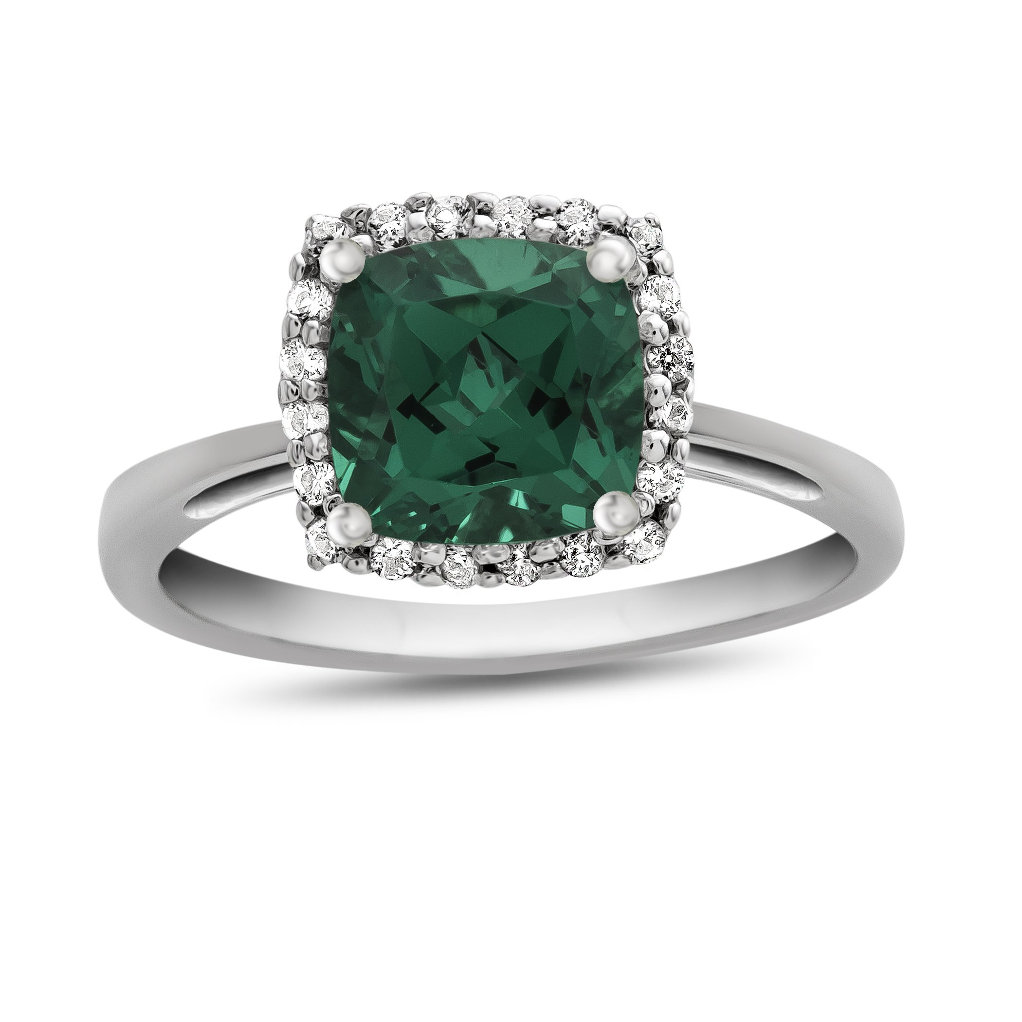 10k White Gold 6mm Cushion Simulated Emerald with White Topaz accent stones Halo Ring Size 7