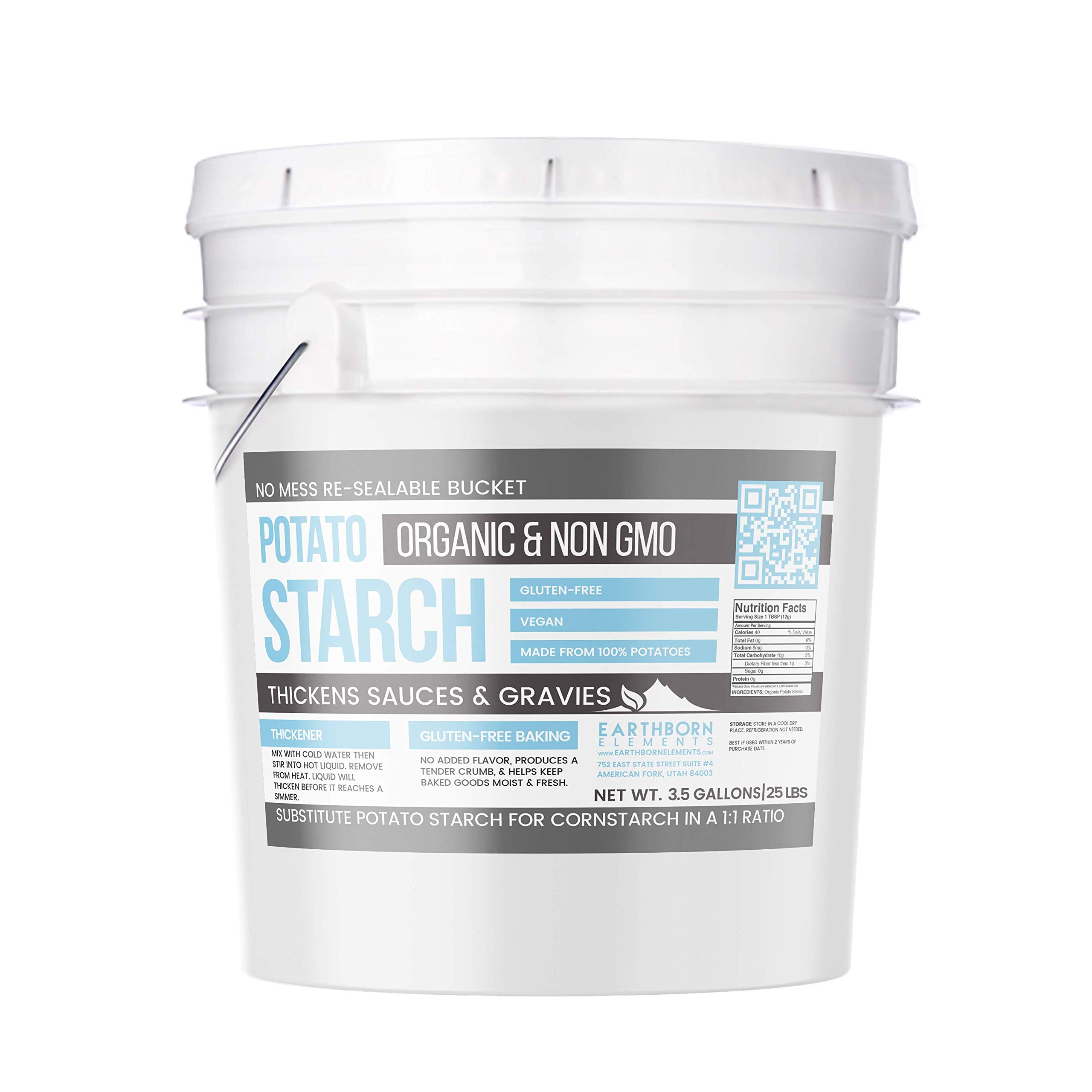 Potato Starch (3.5 gallon (25 lbs.)) by Earthborn Elements, Resealable bucket, Gluten-Free, NON-GMO, All-Natural, Thickener For Sauces, Soup, & Gravy, No Added Preservatives Or Artificial Ingredients