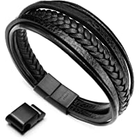 Murtoo Mens Cowhide Leather Braided Bracelet Magnetic-Clasp Multi-layer Wrap Bracelet, 8.85 inch