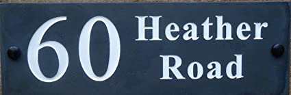 Deep Engraved Honed Slate House Name Number Sign Plaque HIGH QUALITY 30 x 10cm