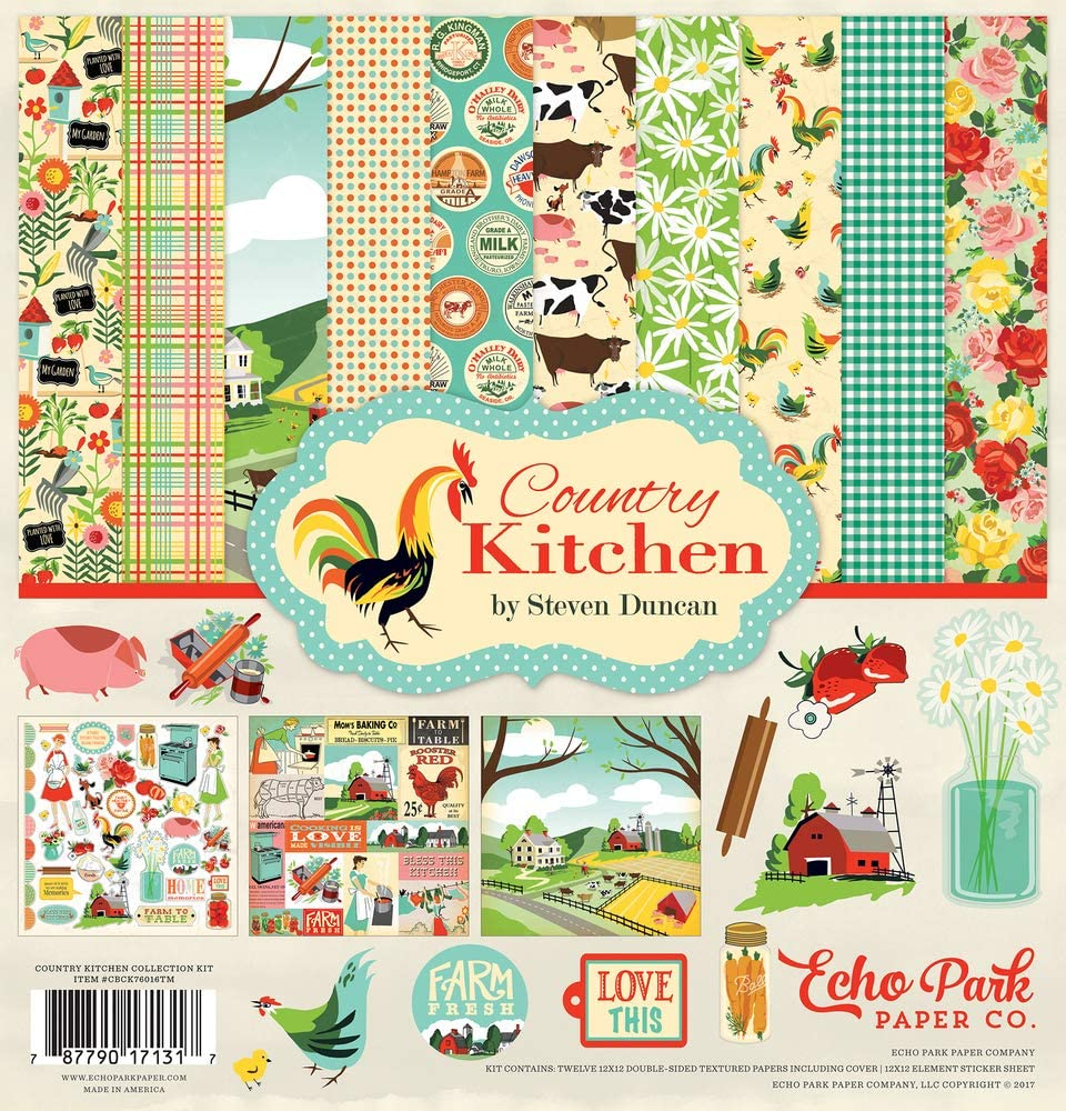 Echo Park Paper Company Country Kitchen Collection Kit TM paper, red, cream, teal, green, yellow