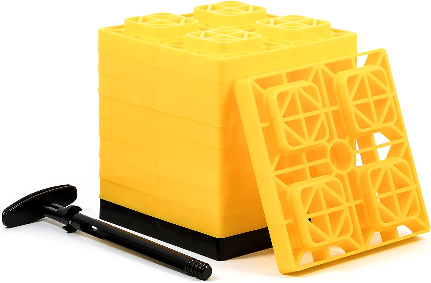 Camco FasTen 2x2 RV Leveling Block For Single Tires, Interlocking Design Allows Stacking To Desired Height, Includes Secure T-Handle Carrying System, Yellow (Pack of 10): Automotive
