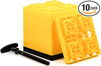 Amazon Com Camco Fasten 2x2 Rv Leveling Block For Single Tires Interlocking Design Allows Stacking To Desired Height Includes Secure T Handle Carrying System Yellow Pack Of 10 Automotive