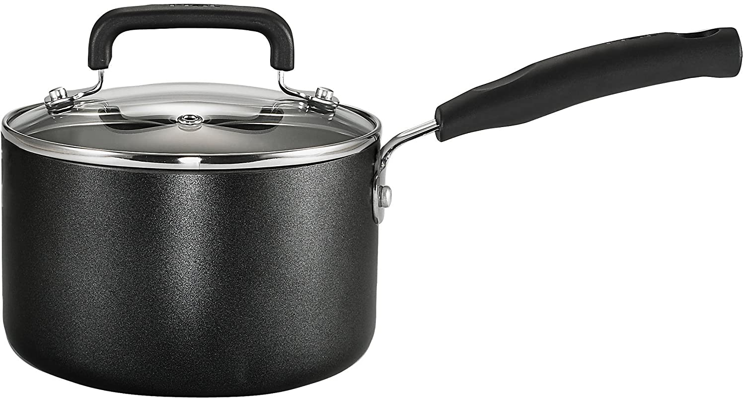 T-fal C11924 Signature Nonstick Expert Easy Clean Interior Dishwasher Safe PFOA Free Oven Safe 3-Quart Sauce Pan with Glass Lid Cookware, Black Groupe SEB 2100095073