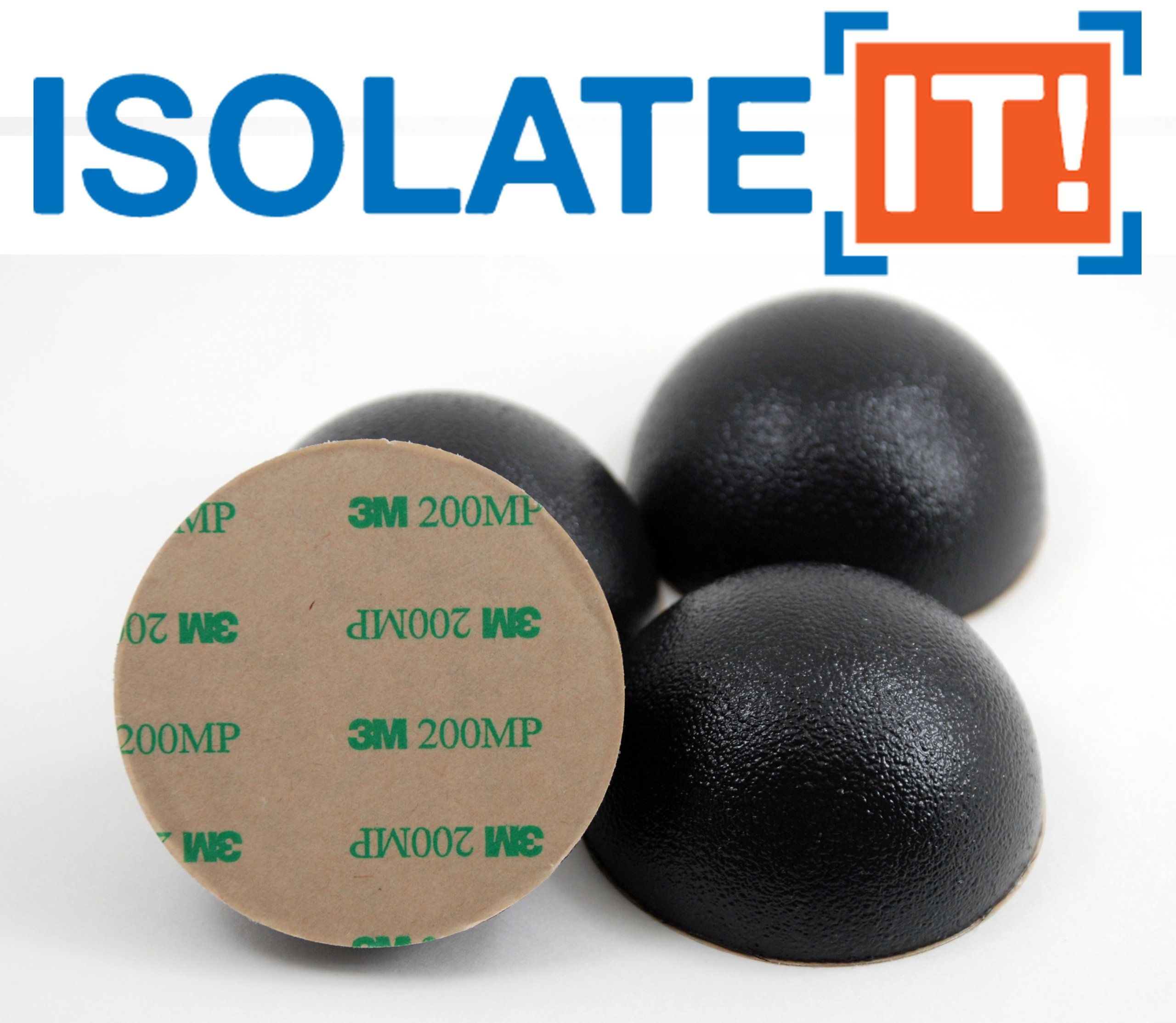 2.5'' Dia Sorbothane Hemisphere Rubber Bumper Non-Skid Feet with Adhesive (4, 30 Duro) by Isolate It! (Image #1)
