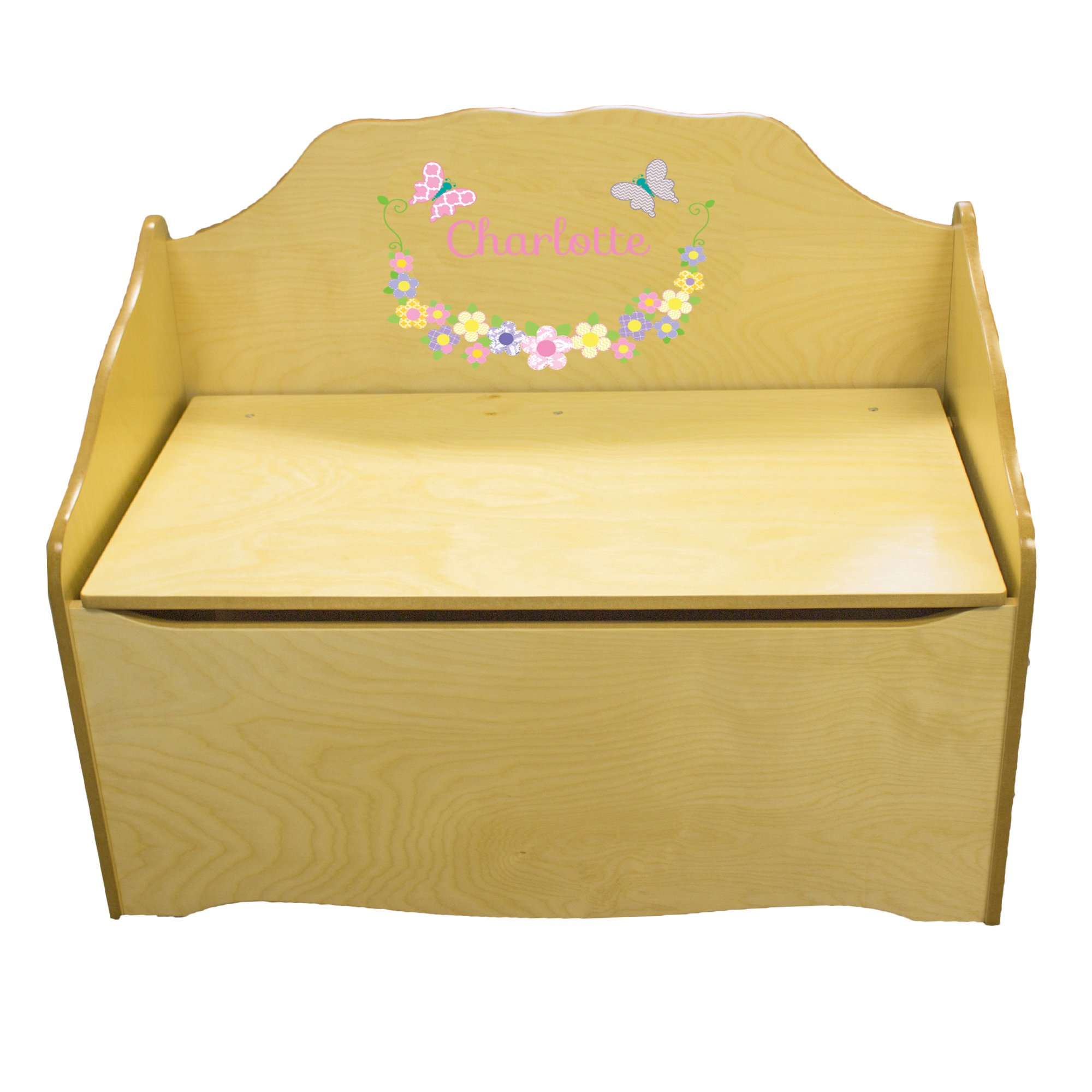 Personalized Pastel Butterflies Childrens Natural Wooden Toy Chest
