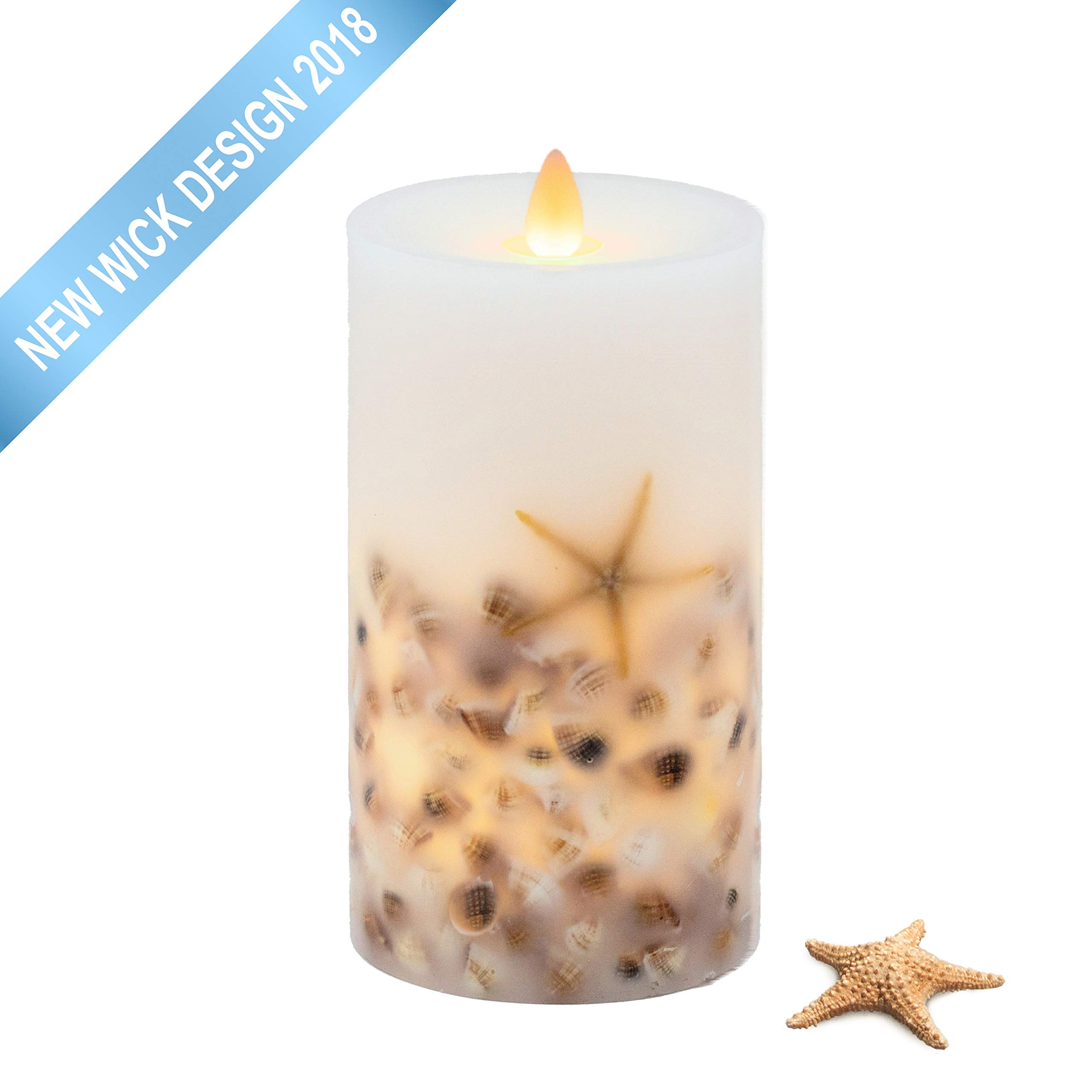 Hooga Life Seashell Flameless LED Pillar Candle | 3.5WX7T | Moving Flickering Flame | Battery Operated with Timer |Universal Remote Ready | Child & Pet Safe | Coastal Beach Décor