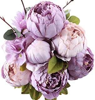Amazon luyue vintage artificial peony silk flowers bouquet duovlo fake flowers vintage artificial peony silk flowers wedding home decorationpack of 1 mightylinksfo