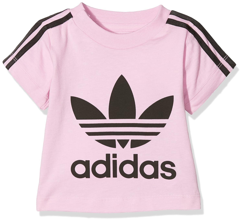 18ee1fed5a7633 adidas Originals Girls 3 Stripe Short Sleeve T-Shirt - Pink  Amazon.co.uk   Clothing
