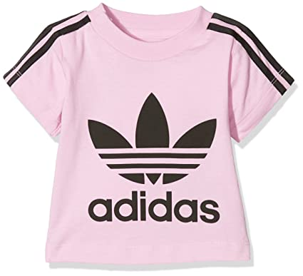 adidas Originals Girls 3 Stripe Short Sleeve T-Shirt - Pink: Amazon.co.uk:  Clothing