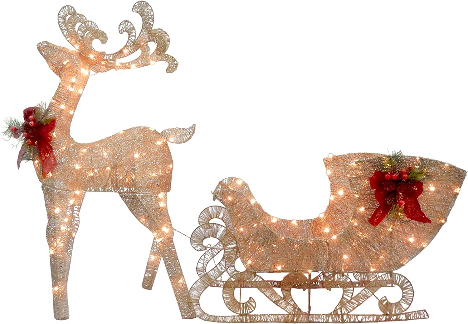 National Tree Reindeer and Santa's Sleigh with LED Lights