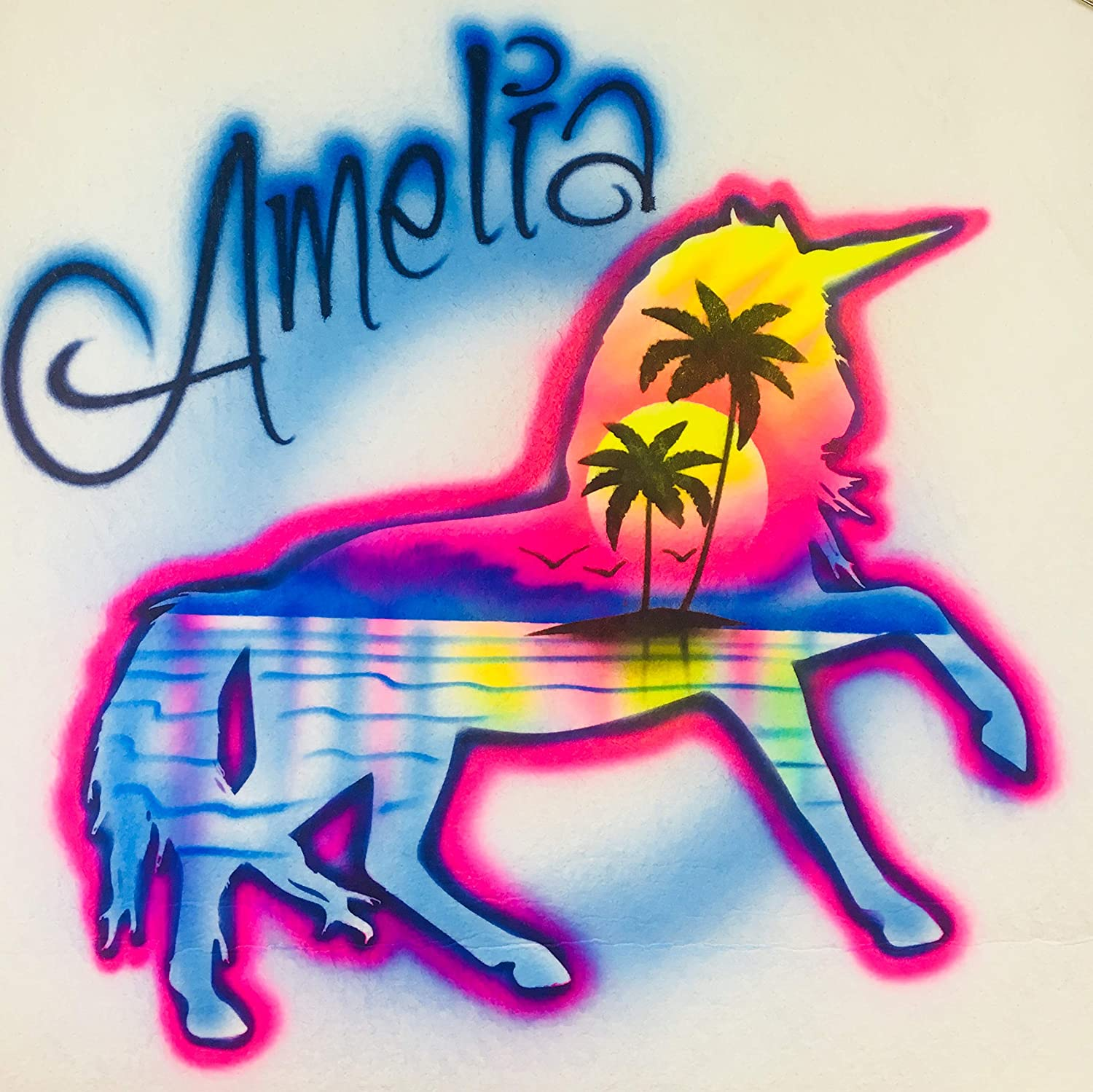 Airbrush T Shirt, Unicorn, Beach Scene, Personalized