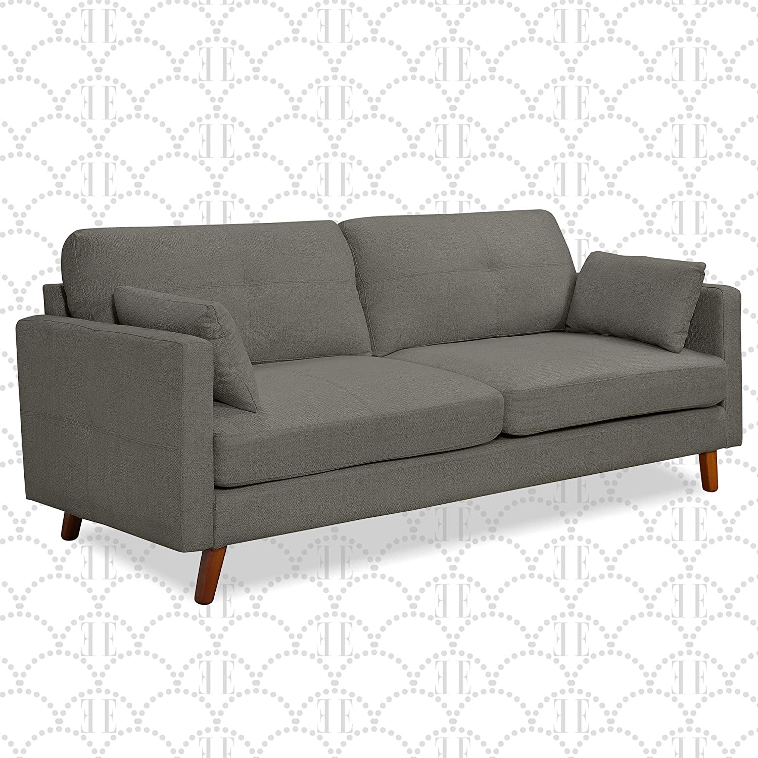 "Amazon.com: Elle Decor Alix Upholstered Living Room Sofa, Tufted Fabric Couch, Mid-Century Walnut Tapered Footers, 78"" Sofa, Light Gray: Furniture & Decor"