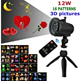 12W Led Projector Light with Remote, 16 Pattern Slides of 3D Pictures for Valentines Lovers Wedding Birthday Party Holiday Moon Stars Snowflakes, Indoor and Outdoor Use