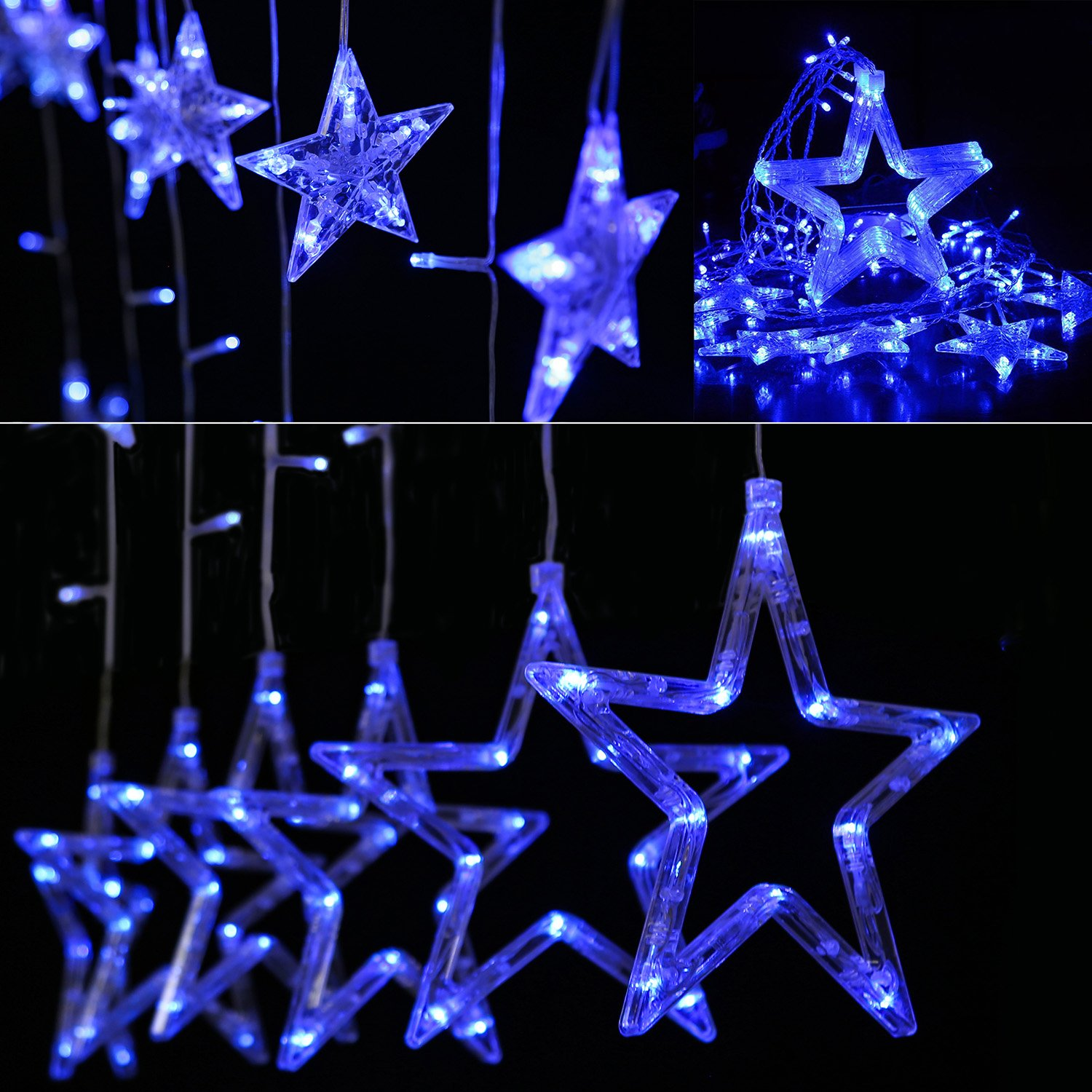 Curtain Lights Stars,Bienna 6.6ft/2M 138 LED USB Powered Twinkle Fairy Waterproof String Lighting [8 Modes] with Remote & Timer for Christmas Window Weddings Bedroom Indoor Outdoor Home Party-Blue